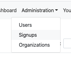 dropdown menu to access signup requests