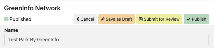 Editing bar showing Save as Draft, Submit for Review, Publish