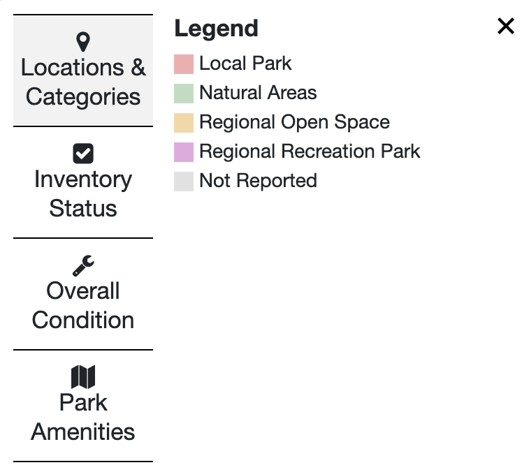 Map legend showing different park types